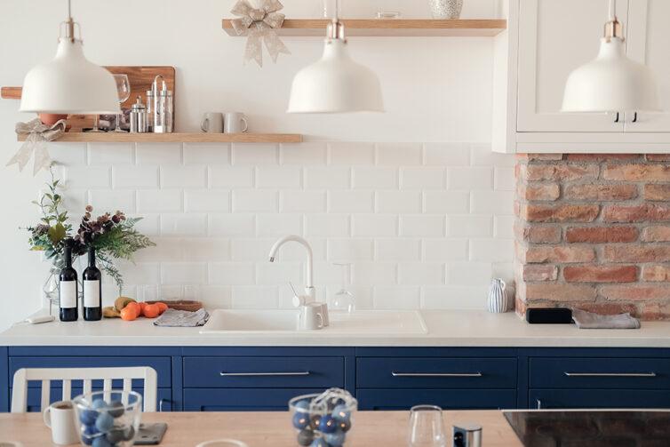 Blue Kitchen with white worktops