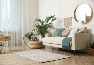 Cream sofa in a loung with plants and window net curtains