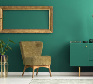 Green room with moss coloured slipper chair