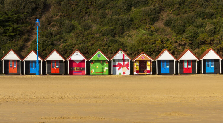 Christmas themed beach huts on Bournemouth Beach