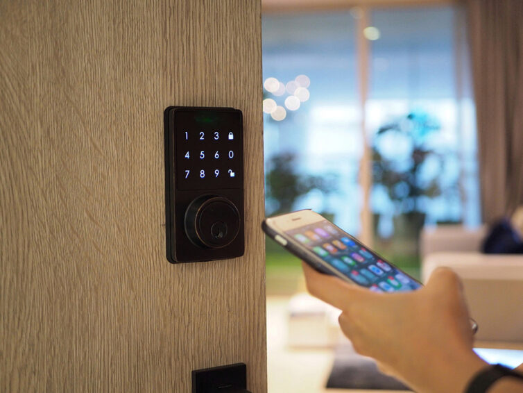 Unlocking Door With Mobile Phone At Home