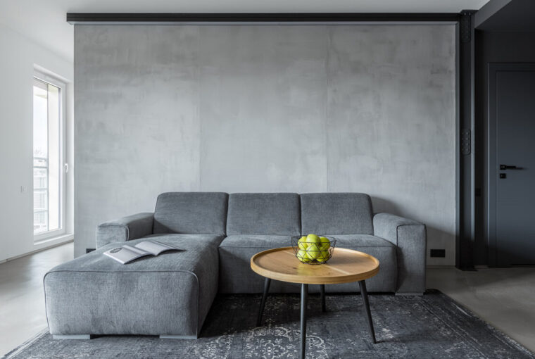 Concrete wall in living room, grey sofa and grey rug