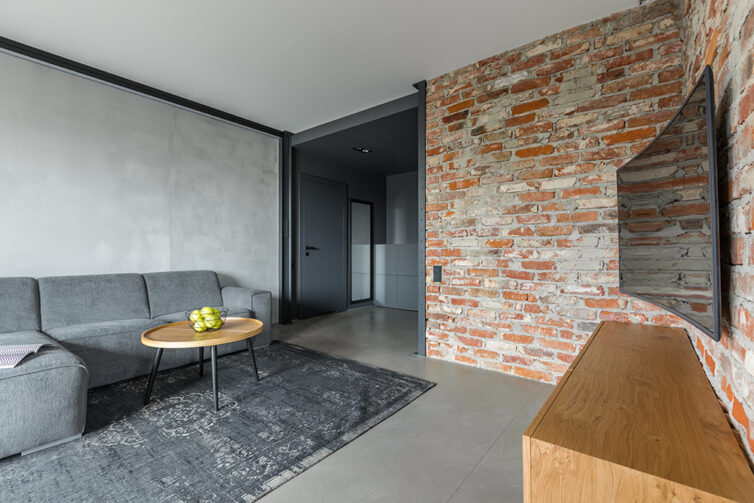 Apartment with concret wall and brick wall interior