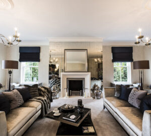 Stylish living room with luxuary silver sofas. Fireplace focal point