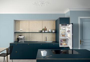 Modern dark kitchen units with intergrated Liebherr fridge